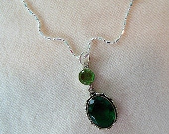 Sterling Silver Peridot and Crystal Pendant Necklace