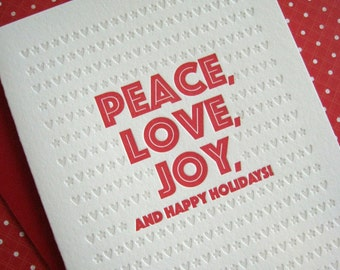 Letterpress Card Set - Peace, Love, Joy