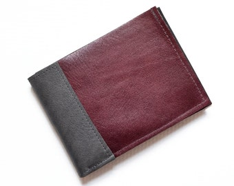 Mens Wallet, Bifold Leather Wallet, Mens Gift, Slim Leather Bifold, Personalized Wallet - The Frankie Wallet in Burgundy