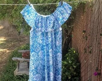 SALE - Girls Summer Blue Play Dress SunDress Hawaiian Hibiscus Flowers Ready now!