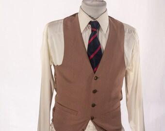 Men's Suit Vest / Vintage Brown Waistcoat / Size 36 / Small #2016