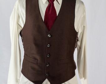 Men's Suit Vest / Vintage Brown Waistcoat / Size 38 / small - medium #2203