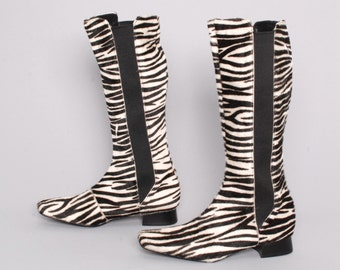 size 8 ZEBRA print leather 80s 90s COWHIDE tall calfskin chelsea slip on boots