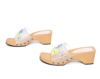 size 9 PLATFORM clear plastic 80s 90s FLORAL WEDGE mules slides sandals
