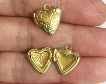 5  Solid brass Heart Locket Pendant 13x15mm, puff heart locket with flower, locket pendant, raw brass pendant