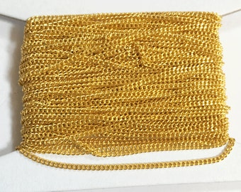 Gold plated tiny curb chain - 1.3mm - Soldered links 32ft spool