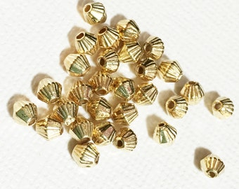 100 pcs of gold plated bicone spacer beads 4x3.5mm,  metal spacer beads