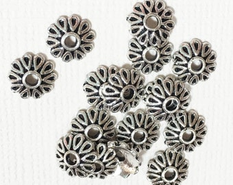 50 pcs of antique silver  flower beadcap 8x8mm, silver alloy bead caps