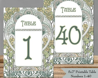 "Printable Table Numbers 1-40 Art Nouveau Gatsby Garden - 5x7"" PDFs - Instant Download - Wedding Table Signs - DIY Ready to Print Yourself"