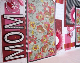 Scrapbook Premade Pages MOM Day - kitsnbitscraps