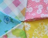 """Vintage Sheet Fat Quarter Bundle - 5 Fat Quarters - 22""""x18"""" cuts, a Rainbow of Vintage Sheet Pieces"""