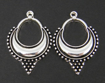 Antique Silver Ornate Tribal Earring Findings with Granulation Detailing Ethnic Jewelry Component |S25-14|2