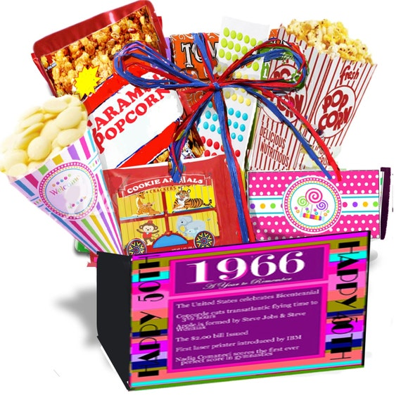 50th Birthday Gift Basket For Men: 50th Birthday Gift Basket Box 1966 Gourmet By