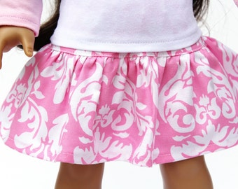 Fits like American Girl Doll Clothes - A Yoke Skirt in Pink Dandy Damask, Made To Order