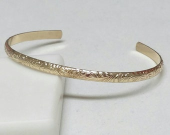 Gold Leaf Cuff Bracelet, Cuff Bracelet, 6 in 14k Gold Fill Vine Cuff, Open Bangle Bracelet, Leafy Bracelet Cuff by Maggie McMane Designs