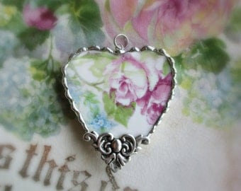 Vintage Recycled Broken China Sweet Romantic Roses Heart Pendant