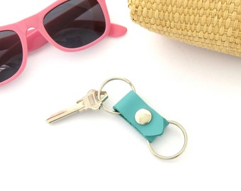 Aqua Leather Key Fob Leather Valet Keychain Light Blue Key Ring Leather Keychain Tropical Blue Fob Two Part Key Ring