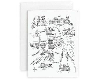University of Georgia, Athens, Georgia Map Notecard Set