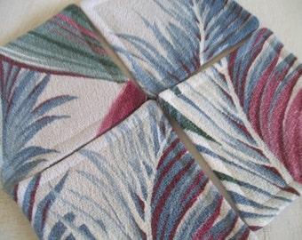 Fabric Coaster Mid Century Barkcloth Set of 4 Coasters