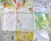 Rag Quilt  Sham Pillowcase Made From Vintage Sheets Shabby Chic Flowers  Pink Blue Yellow Green  White 26 X 26 Gift