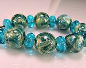 Blue Aqua Silver Lampwork Bead Set SRA Lampwork Glass Beads