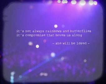 Maroon Music - She Will be Loved (Maroon 5 concert purple lilac violet blurry lights photography romantic love quote Adam Levine lyrics)