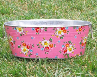 SALE Pink Backyard Roses Short Medium Oval Tub - Crafted Ready for Shipping