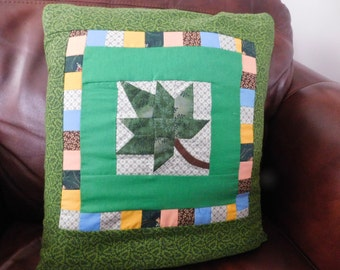 Green Maple Leaf Quillow/lap throw/pillow