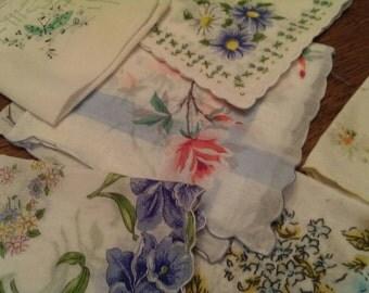 Set of 6 Floral Ladies Hankies Butterfly