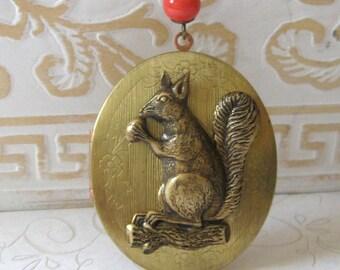 Squirrel locket necklace, long chain, vintage brass oval locket, forest animal, acorn