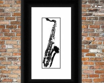 Black and White Saxaphone - a counted cross stitch pattern.