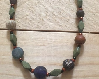 Boho earth tone stone and wood bead necklace