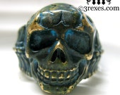 Mens Skull Ring Rustic Bronze Biker Band Size 11.5
