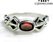 Pixie Friendship Ring Silver Celtic Knot Red Garnet Stone Size 5