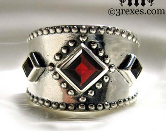 3 Wishes Silver Ring Gothic Garnet Medieval Wedding Band Size 6.75