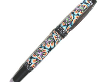 Olympian style fountain pen polymer clay silver chrome finish Millefiori design with reservoir FP124