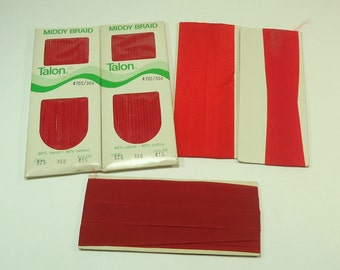 Vintage Red Seam Binding And Middy Braid Collection