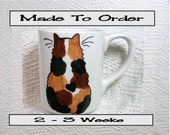 Calico Cat Mug Original Handmade With Paws On Back by GMS