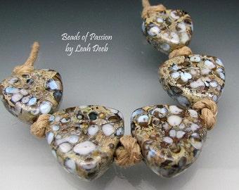 Handmade Artisan Glass Beads of Passion Set Lampwork - 5 Organic Stone Shields