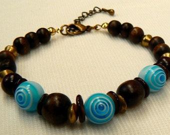 Dark Brown & Turquoise Bracelet, Wood Bead Bracelet, Boho Wood Bracelet, Brass Gold Bracelet, Turquoise Bracelet, Gift For Her (B98)