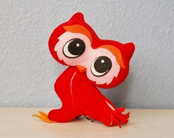1968 Kamar Owl Red Vintage Japan Stuffed Animal Cute Kitsch 1960s Mod