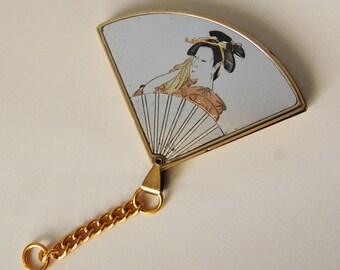 1960s Vintage Geisha Fan Mirror Unusual Compact Keychain