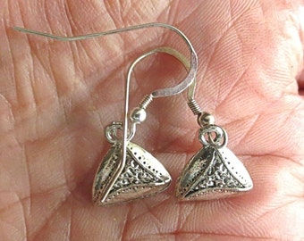 Silver Hamentashen Cookie Purim Judaica earrings --- great gift for her-------simple minimal design