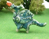 wee green dragon figurine - terrarium miniatures