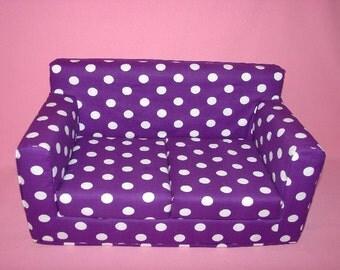 18 Inch Purple, White Polka Dot Sofa - Modern Handmade Doll Furniture