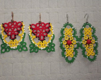 Large Guyana flag tatted lace earrings, red yellow green, tatting jewelry, tatted lace, lightweight, original designs