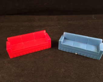 Set of Vintage Red and Blue Plastic Living Room Couches Doll House Furniture