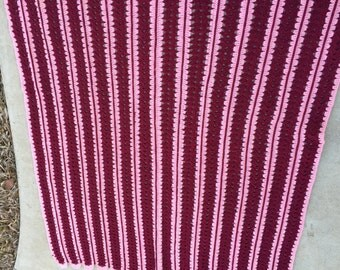Vintage Hand Crochet Pink and Maroon Afghan/Lap Throw