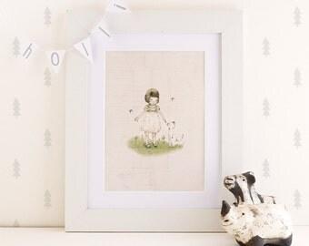 girl with cat, forever friends - Nursery art - Nursery decor - Kids room decor - Children's art - Children's wall art - kids wall art