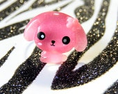 Puppy Ring, Kawaii Dog Ring, Pink Glitter Resin Jewelry, Adjustable Ring